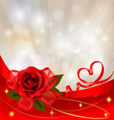 Valentine`s day background. Red rose with gift red bow. Vector illustration — Wektor stockowy