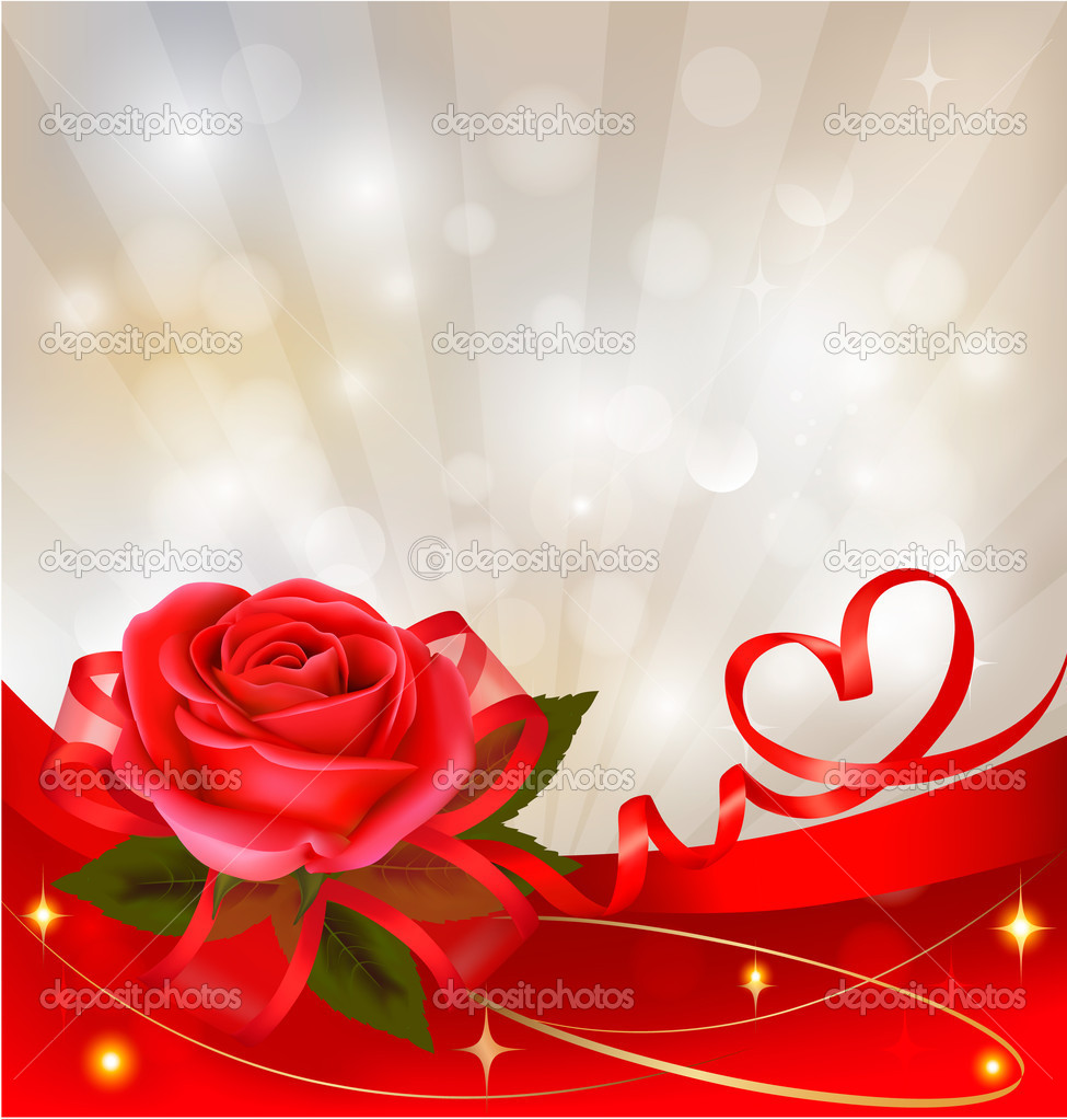 Valentine s day background red rose with gift red bow vector