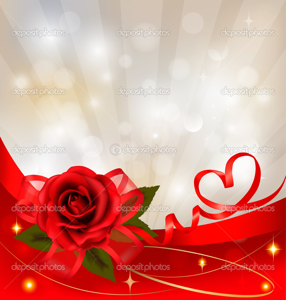 Valentine`s day background. Red rose with gift red bow. Vector illustration. — Stock Vector #8659112
