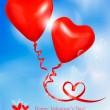 Red heart balloons in blue sky. Valentine background. Vector. — Stock Vector #8724944