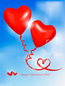 Red heart balloons in blue sky. Valentine background. Vector. — Stock Vector