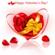 Valentine`s day background. Red roses and gift red bow. - Stock Vector