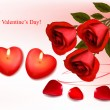 Valentine`s day background. Red roses and two heart candles. Vector. - Stock Vector