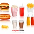 Big group of fast food products. Vector illustration — Stock Vector