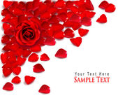 Background of red rose petals. Vector — Vector de stock