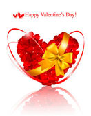 Valentine`s day background. Red roses and gift red bow. — 图库矢量图片