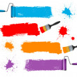 Paint brush and paint roller and paint banners. Vector illustration. — Stock Vector