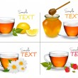 Set of backgrounds with Cups of tea. Vector illustration. — Stock Vector