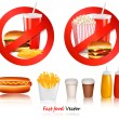 Stock Vector: Two Fast food danger labels and group of fast food products.