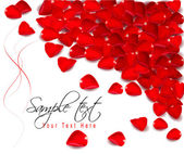 Background of red rose petals. Vector illustration. — ストックベクタ
