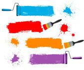 Brocha y rodillo de pintura y pintura pancartas. ilustración vectorial. — Vector de stock