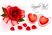 Valentine`s day background. Red roses and two heart candles. Vector. — Stockvektor