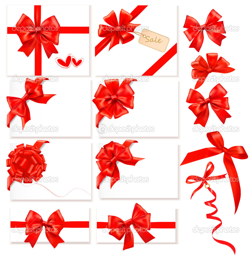 Collection of red bows with ribbons. Vector. — ベクター素材ストック #8876239
