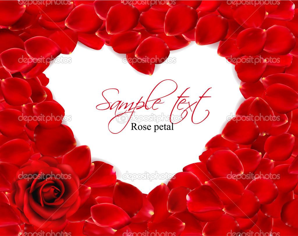 Beautiful heart of red rose petals. Vector — Stock Vector #8876249
