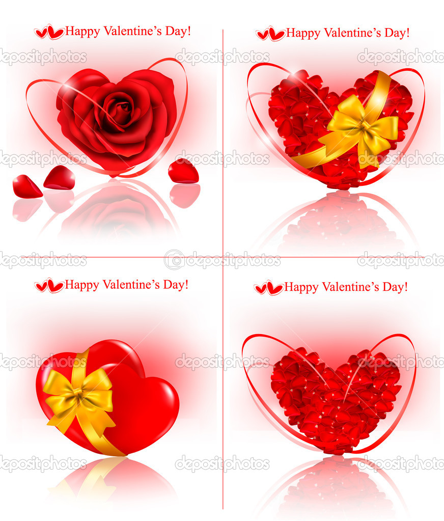 Set of Valentine`s day banners. Red hearts made of rose petals with gift red ribbons. Vector illustration — Stock Vector #8876268