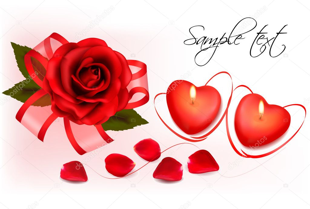 Valentine`s day background. Red roses and two heart candles. Vector. — Stock Vector #8876292