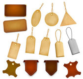 Big set of leather labels and tags. Vector illustration — Stock Vector