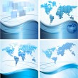 Four Business abstract backgrounds with world map. Vector illustration. — Stock Vector