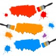 Paint brushes and paint banners. Vector illustration. — Stok Vektör
