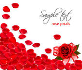 Background of red rose petals. Vector — Stok Vektör