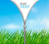 Sky with grass background with zipper. Vector. — Stock Vector