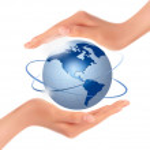 Hands holding globe. Vector. — Stock Vector