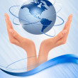 Background with hands holding globe Vector — Stock Vector #9227443