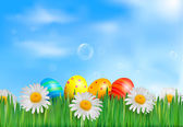 Easter eggs in the grass with daisies Vector illustration — Stock Vector