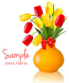 Spring flowers in a vase with a red bow and ribbons Easter vector background — Stock Vector