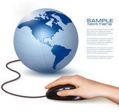 Hand with computer mouse and globe Vector illustration — Stock Vector