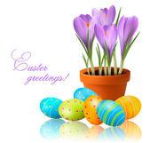 Ilustración del vector de flores frescas de primavera con huevos de pascua — Vector de stock