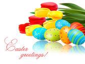 свежие весенние цветы с пасхальные яйца векторные иллюстрации — Cтоковый вектор