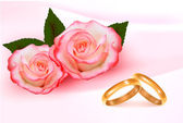 Gold wedding rings in front of three pink roses Vector — Stock Vector