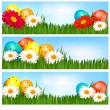 Easter banners with Easter eggs and colorful flowers. Vector illustration. — Stock Vector #9515538