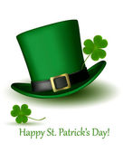 St Patrick Day hat with clover Vector illustration — Stok Vektör