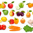 Big collection of fruits and vegetables Vector illustration — Stock Vector #9542113