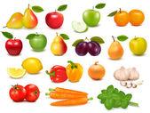 Gran colección de frutas y verduras ilustración vectorial — Vector de stock