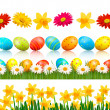 Stock Vector: Big Easter set with traditional eggs and flowers Vector