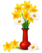 Spring colorful flowers in a vase with Easter eggs Easter vector background — Vector de stock