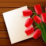 czerwone tulipany i puste karty na starej desce. wektor — Wektor stockowy