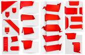Big collection of red origami paper banners and stickers. Vector illustration. — Stock Vector