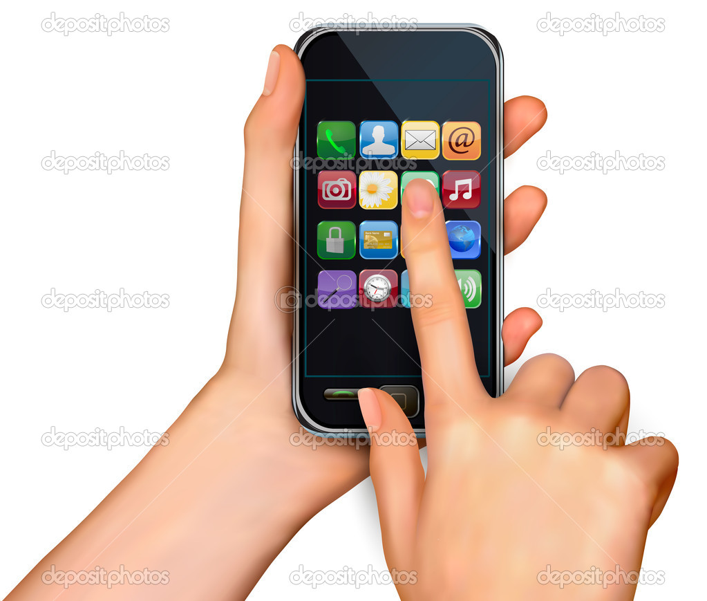 A hands holding touchscreen mobile phone with icons  Vector   Stock Vector #9738444