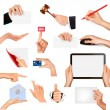 Set of hands holding different business objects. Vector illustration — Stock Vector