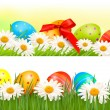 Two easter borders with easter eggs and spring flowers  Vector — Stock Vector