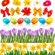 Big Easter set with traditional eggs flowers and bow and ribbons Vector — ストックベクタ