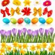 伝統的な卵花と弓とリボン ベクトル設定ビッグ イースター — ストックベクタ