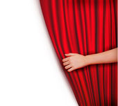 Background with red velvet curtain Vector illustration — Stockvector