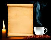 Carta del restaurante en el viejo papel y café vector — Vector de stock