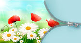 Nature background with summer flowers and open zipper. Vector illustration. — Stock Vector