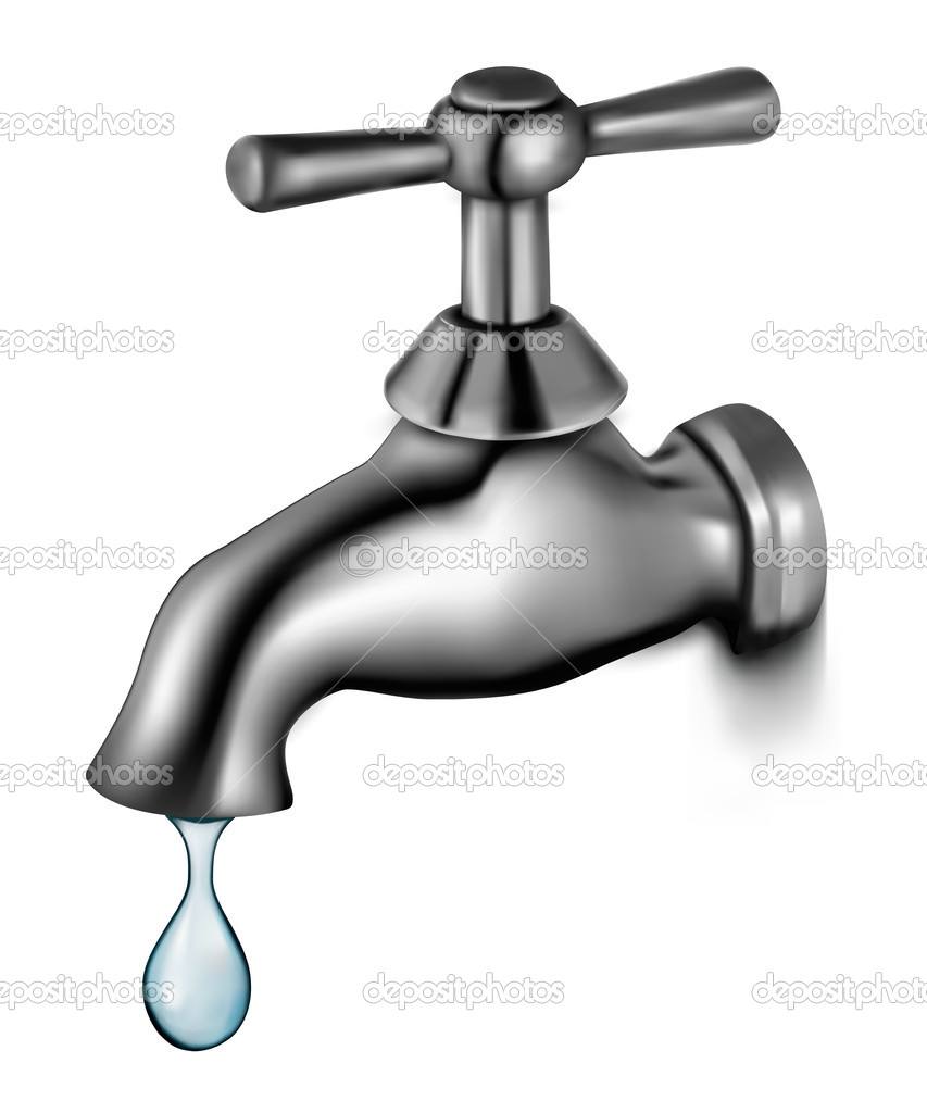 Water tap with drop vector illustration stock vector for Llave tirando agua